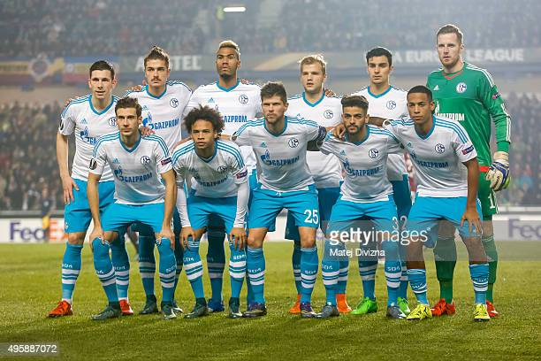 Players of Schalke pose before the UEFA Europa League Group K match between AC Sparta Praha and FC Schalke 04 at Generali Arena on November 5 2015 in...