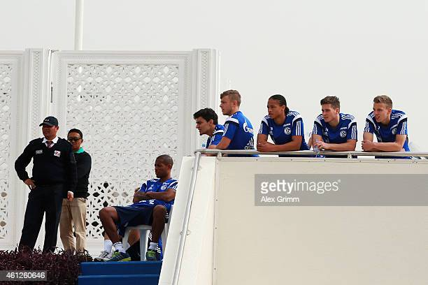 Players of Schalke watch from a hill during day 2 of the Bayern Muenchen training camp at ASPIRE Academy for Sports Excellence on January 10 2015 in...