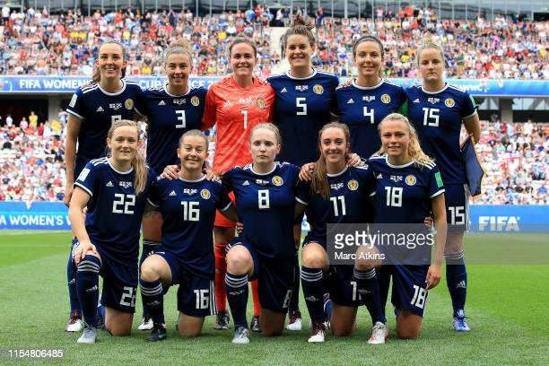 Players of Scotland pose for a team photograph prior to the 2019 FIFA Women's World Cup France group D match between England and Scotland at Stade de...