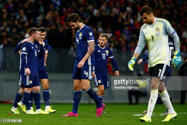 Players of Scotland react after the UEFA 2020 Qualifying round Group I soccer match of Russian and Scotland at Luzhniki stadium in Moscow Russia 10...