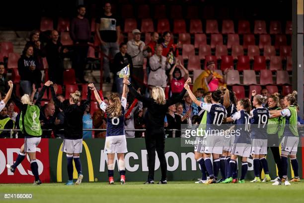 Players of Scotland with the fans after the Group D match between Scotland and Spain during the UEFA Women's Euro 2017 at Stadion De Adelaarshorst on...