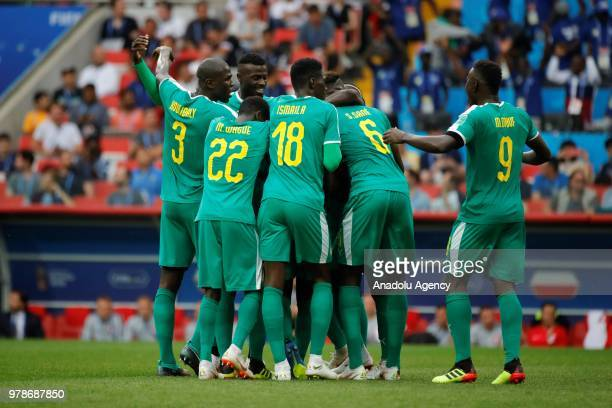 Players of Senegal celebrate after scoring a goal during the 2018 FIFA World Cup Russia Group H match between Poland and Senegal at the Spartak...