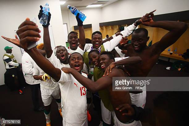 Players of Senegal celebrate in the team's changing room after the FIFA U20 World Cup New Zealand 2015 Quarter Final match between Senegal and...