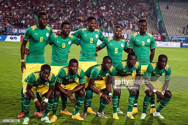 Players of Senegal pose before the Africa Cup of Nations qualification group G match between Egypt and Senegal at International Cairo Stadium in...