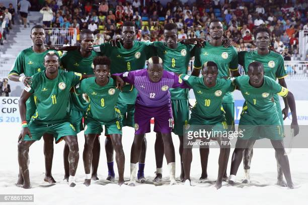 Players of Senegal pose for a team photo prior to the FIFA Beach Soccer World Cup Bahamas 2017 quarter final match between Italy and Senegal at...
