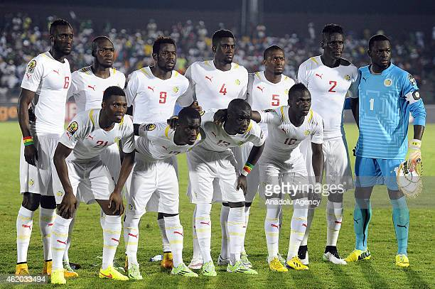 Players of Senegal pose for photo ahead of the 2015 African Cup of Nations Group C football match between South Africa and Senegal at Mongomo Stadium...