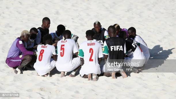 Players of Senegal react after the FIFA Beach Soccer World Cup Bahamas 2017 group A match between Ecuador and Senegal at National Beach Soccer Arena...