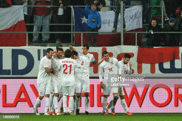 Players of Serbia celebrate a scored goal against Chile during the FIFA Friendly match between Chile and Serbia at Arena Saint Gallen stadium on...