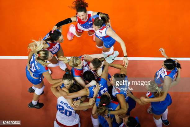 Players of Serbia celebrate during 2017 Nanjing FIVB World Grand Prix Finals between China and Serbia on August 6 2017 in Nanjing China