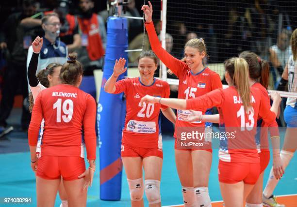 Players of Serbia celebrate the victory after FIVB Volleyball Nations League match between Argentina and Serbia at the stadium of the technological...