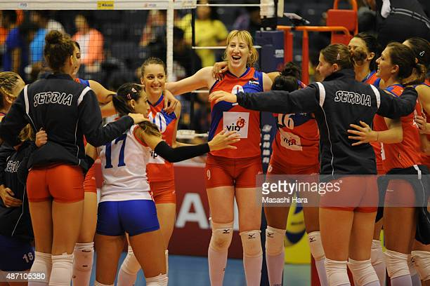 Players of Serbia celebrate the win during the match between Argentina and Serbia during the FIVB Women's Volleyball World Cup Japan 2015 at Park...