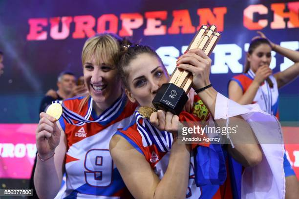 Players of Serbia celebrate winning the 2017 CEV Volleyball Women European Championship final match between the Netherlands and Serbia in Baku...