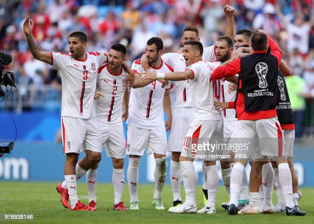 Players of Serbia celebrates victory following the 2018 FIFA World Cup Russia group E match between Costa Rica and Serbia at Samara Arena on June 17...