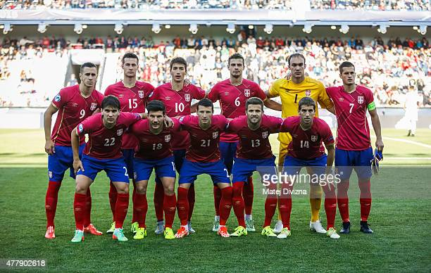 Players of Serbia pose before UEFA U21 European Championship Group A match between Serbia and Czech Republic at Letna Stadium on June 20 2015 in...