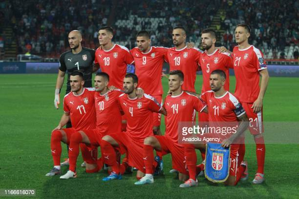 Players of Serbia pose for a team photo ahead of the UEFA Euro 2020 European Championship Qualifiers match between Serbia and Portugal at Rajko Mitic...