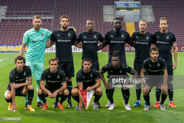 Players of Servette Fc pose for a teamphoto prior to the UEFA Europa League second qualifying round match between Servette FC and Stade de Reims at...
