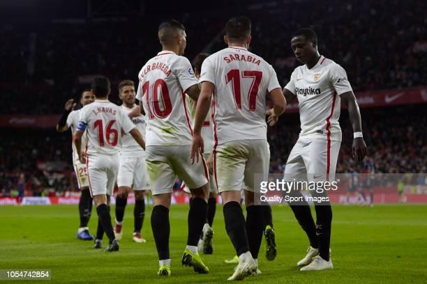 Players of Sevilla celebrates the team's opening goal during the La Liga match between Sevilla FC and SD Huesca at Estadio Ramon Sanchez Pizjuan on...
