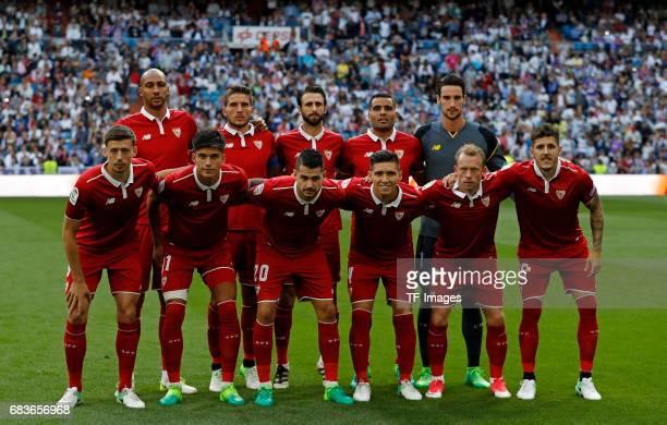 Players of Sevilla during the La Liga match between Real Madrid CF and Sevilla CF at Estadio Santiago Bernabeu on May 14 2017 in Madrid Spain