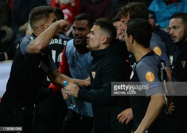 Players of Sevilla FC celebrate after scoring during the UEFA Europa League last 16, second leg football match Slavia Prague v Sevilla on March 14,...