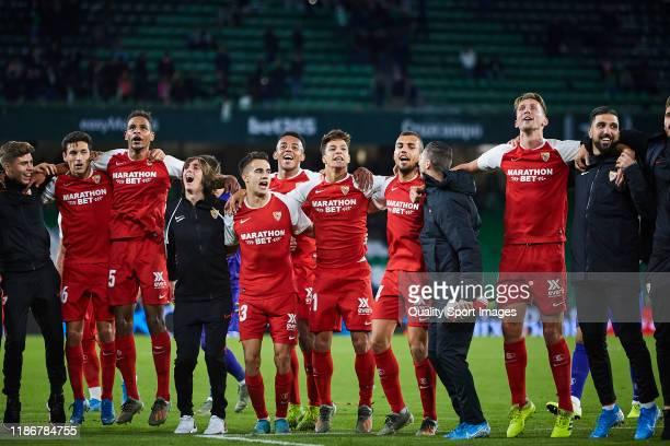 Players of Sevilla FC celebrate after the Liga match between Real Betis Balompie and Sevilla FC at Estadio Benito Villamarin on November 10, 2019 in...