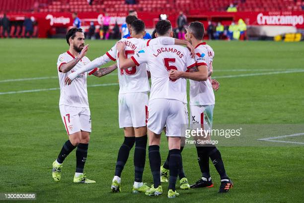 Players of Sevilla FC celebrate Lucas Ocampos goal wich was disalowed during the La Liga Santander match between Sevilla FC and Getafe CF at Estadio...