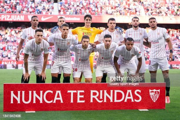Players of Sevilla FC line up for a team photo prior to the La Liga Santander match between Sevilla FC and Valencia CF at Estadio Ramon Sanchez...