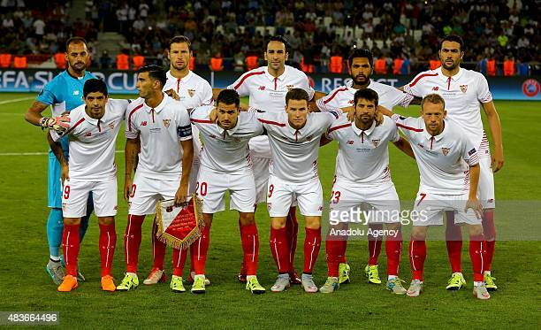Players of Sevilla pose before UEFA Super Cup match between Barcelona and Sevilla at Boris Paichadze Dinamo Arena in Tbilisi on August 11 2015