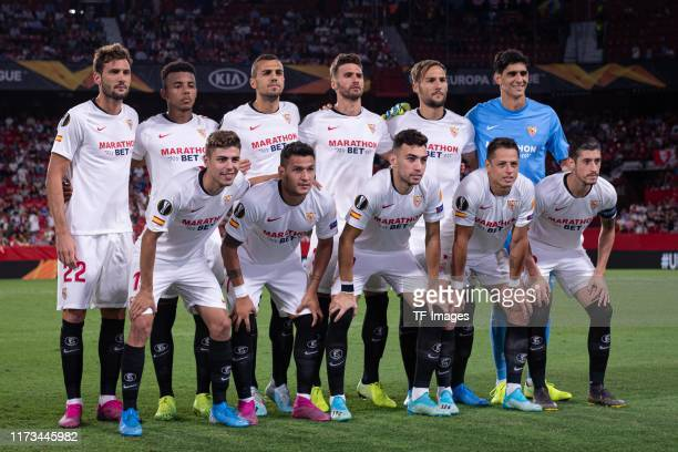 Players of Sevilla pose for a team photo during the UEFA Europa League group A match between Sevilla FC and APOEL Nikosia at Estadio Ramon Sanchez...