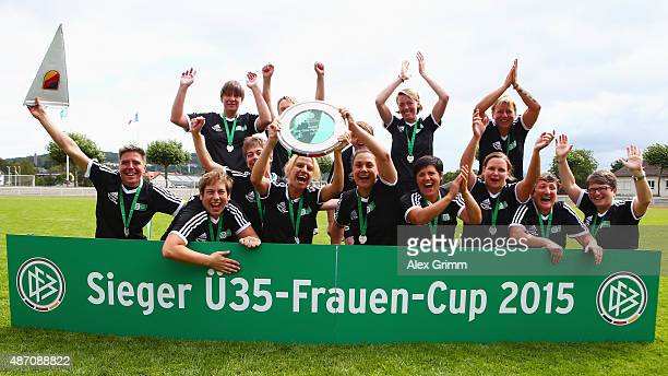 Players of SG Dirmingen celebrate winning the DFB Women's Over35 Cup on September 6 2015 in Marburg Germany
