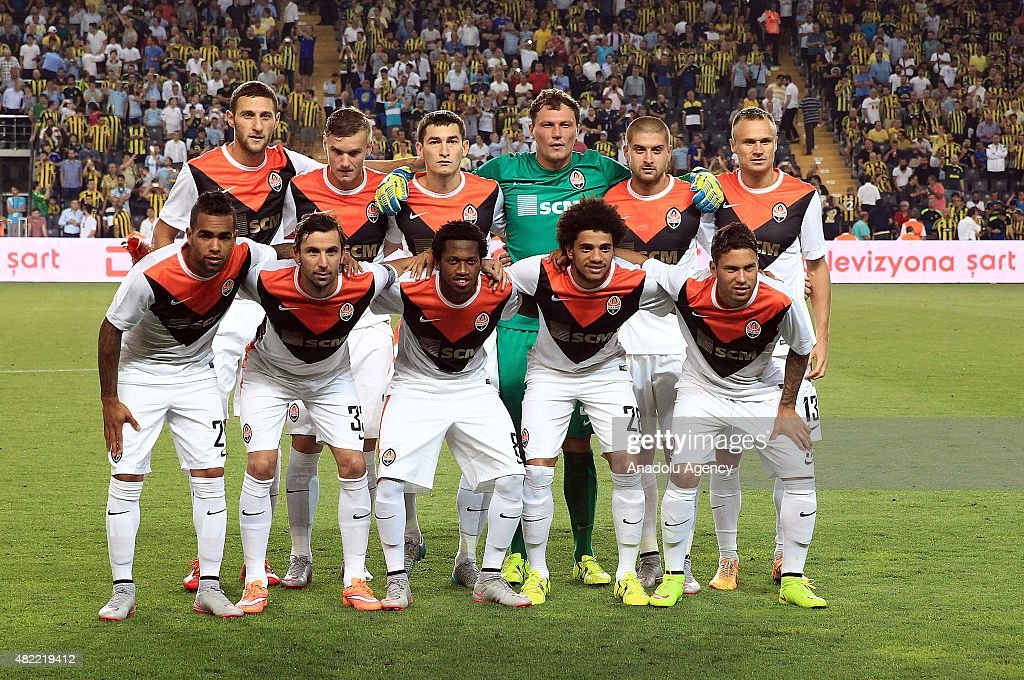 Players of Shakhtar Donetsk pose for a group photo ahead of the UEFA Champions League 3rd qualifying round match between Fenerbahce and Shakhtar Donetsk at Fenerbahce Sukru Saracoglu in Istanbul, Turkey, on July 28, 2015.