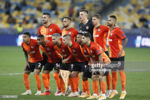 Players of Shakhtar Donetsk pose for photo before the UEFA Champions League Group B football match between Shakhtar Donetsk and Inter Milan at the...