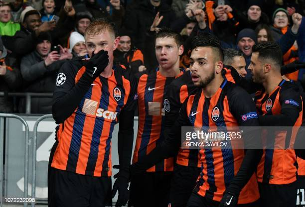 Players of Shakhtar react after scoring during the UEFA Champions League Groupe F football match FC Shakhtar Donetsk and Olympique Lyonnais on NSK...