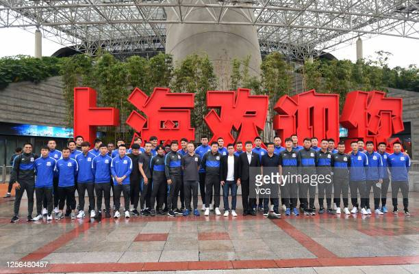 Players of Shanghai Greenland Shenhua Football Club attend the farewell ceremony before leaving for 2020 Chinese Super League on July 15, 2020 in...