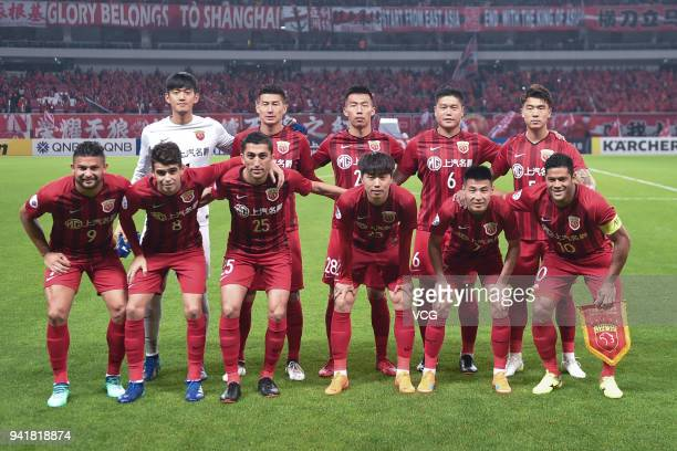 Players of Shanghai SIPG line up prior to AFC Champions League Group F match between Shanghai SIPG and Kawasaki Frontale at the Shanghai Stadium on...