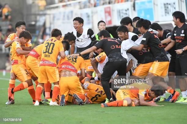 Players of Shimizu SPulse celebrate their fifth goal during the JLeague J1 match between Shimizu SPulse and Jubilo Iwata at IAI Stadium Nihondaira...