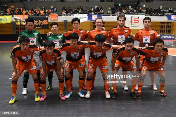 Players of Shriker Osaka pose for photograph prior to the FLeague match between Shriker Osaka and Agleymina Hamamatsu at the Komazawa Gymnasium on...
