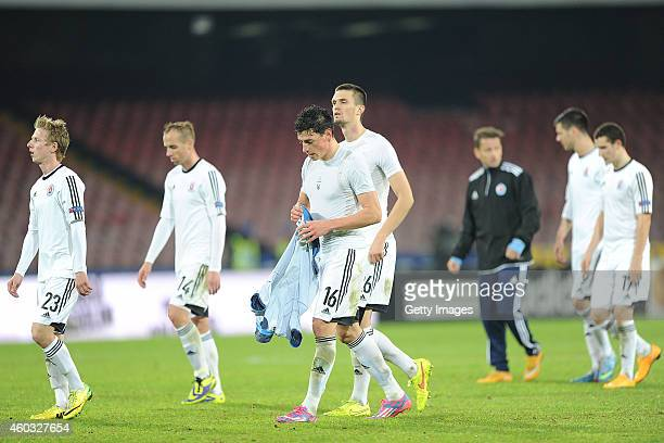 Players of SK Slovan Bratislava show their disappointment after the UEFA Europa League football match between SSC Napoli and SK Slovan Bratislava at...