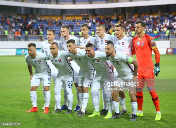 Players of Slovakia pose for a team photo ahead of a UEFA Euro 2020 European Championship Qualifiers Group E match between Azerbaijan and Slovakia at...