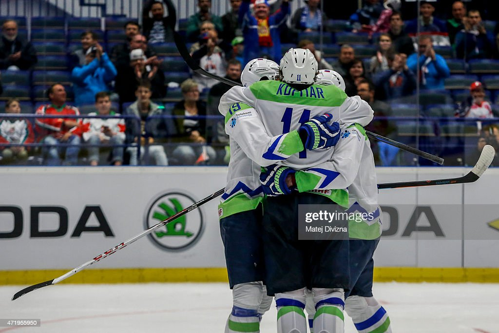 Players of Slovenia celebrate during the IIHF World Championship group B match between Belarus and Slovenia at CEZ Arena on May 2, 2015 in Ostrava, Czech Republic.