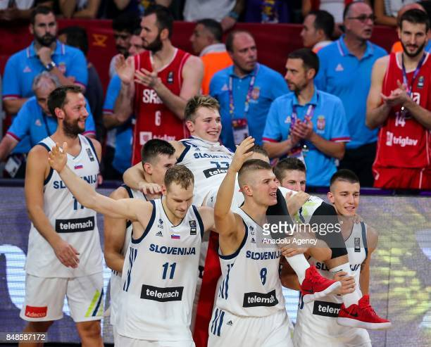 Players of Slovenia celebrate their victory during the cup ceremony after the FIBA Eurobasket 2017 final basketball match between Slovenia and Serbia...