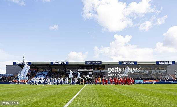 Players of SonderjyskE and FC Nordsjalland entering the pitch prior to the Danish Alka Superliga match between Sonderjyske and FC Nordsjalland at...