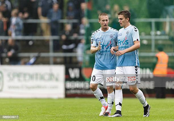 Players of Sonderjyske celebrates after scoring their first goal during the Danish Alka Superliga match between Sonderjyske and FC Copenhagen at...