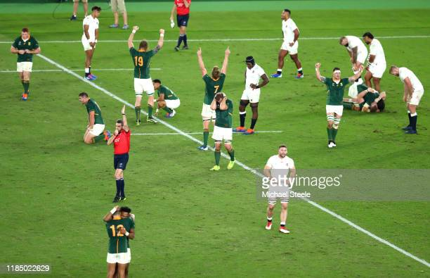 Players of South Africa celebrate victory as the England team react to defeat as referee Jerome Garces blows his whistle during the Rugby World Cup...