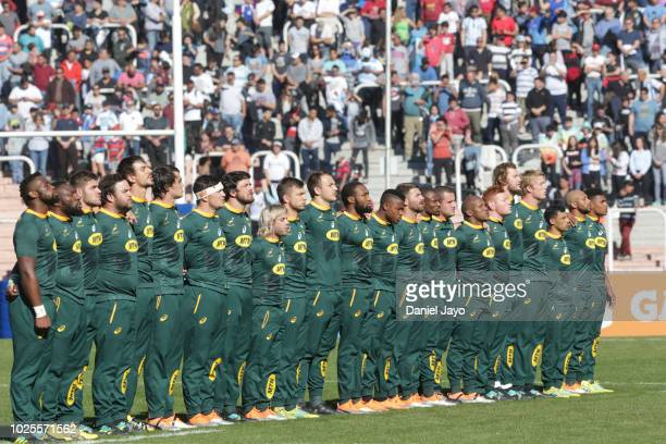 Players of South Africa line up for the national anthem during a match between Argentina and South Africa as part of The Rugby Championship 2018 at...