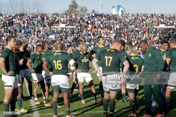 Players of South Africa look dejected at the end of a match between Argentina and South Africa as part of The Rugby Championship 2018 at Malvinas...