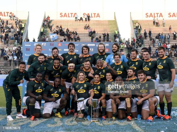Players of South Africa pose with the Rugby Championship 2019 Trophy after winning a match between Argentina and South Africa as part of The Rugby...