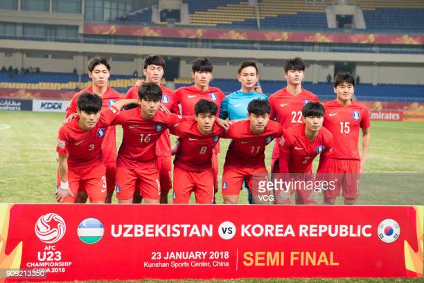 Players of South Korea line up prior to the AFC U23 Championship semifinal match between Uzbekistan and South Korea at Kunshan Sports Center on...