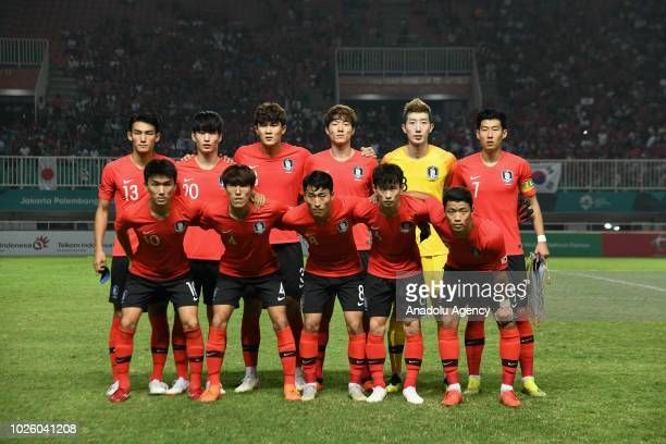 Players of South Korea pose for a photo ahead of the 2018 Asian Games Final soccer match between South Korea and Japan at Pakansari Stadium in Bogor...