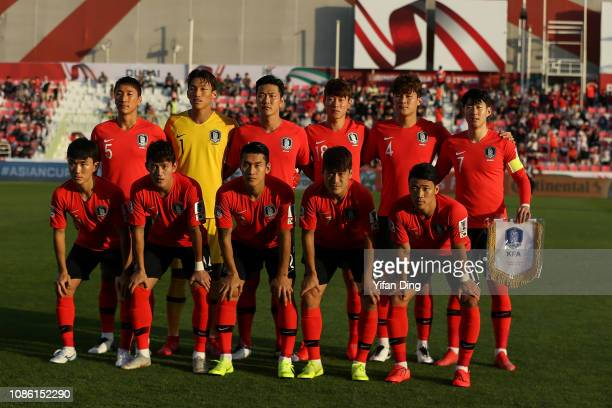 Players of South Korea pose for the team photo prior to the AFC Asian Cup round of 16 match between South Korea and Bahrain at Rashid Stadium on...