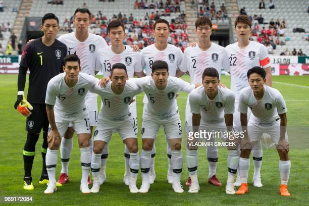 Players of South Korea's National team pose for a team picture before their international friendly football match between South Korea and Bolivia at...
